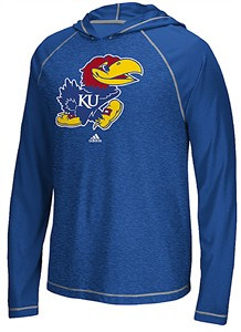 Kansas Jayhawks Extra Point Adidas Ultimate Climalite Hooded Long Sleeve T Shirt