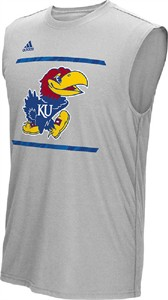 Kansas Jayhawks Grey Adidas Sidelines Energize Synthetic Sleeveless Shirt