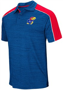 Kansas Jayhawks Mens Royal Colosseum Skip Polyester Polo Shirt