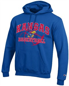 Kansas Jayhawks Royal Basketball Powerblend Screened Hoodie Sweatshirt by Champion