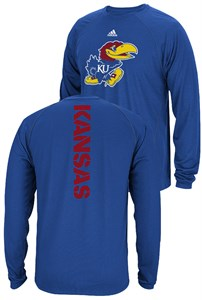 Kansas Jayhawks Royal Sideline Spine Climalite Long Sleeve T Shirt on Sale
