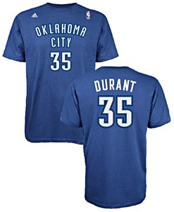 Kevin Durant 35 Oklahoma City Thunder High Def Select Replica T Shirt by Adidas