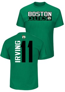Kryie Irving Boston Celtics Mens Green Vertical Short Sleeve T Shirt
