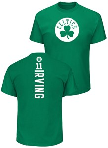 Kryie Irving Boston Celtics Mens Kelly Green Logo Backer Short Sleeve T Shirt