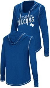 Ladies Air Force Falcons Junior Sized Royal Synthetic Hooded Pullover Top on Closeout