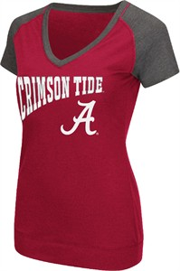 Ladies Alabama Crimson Tide Goalline Synthetic V Neck Short Sleeve T Shirt