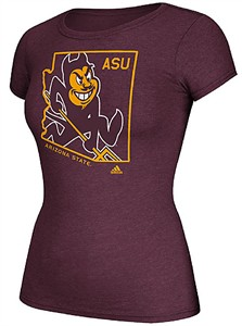 Ladies Arizona State Sun Devils Adidas Maroon Clipped State Short Sleeve Tee Shirt