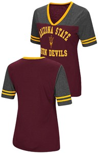 Ladies Arizona State Sun Devils Smaller Fit Whole Package Synthetic V Neck T Shirt