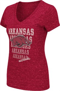 Ladies Arkansas Razorbacks Cardinal Delorean V-Neck T Shirt