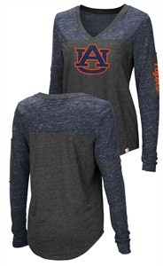 Ladies Auburn Tigers Charcoal Stance V Neck Long Sleeve T Shirt
