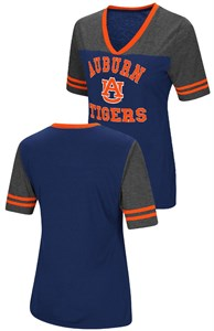 Ladies Auburn Tigers Smaller Fit Whole Package Synthetic V Neck T Shirt