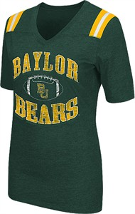 Ladies Baylor Bears Green Artistic Short Sleeve T Shirt