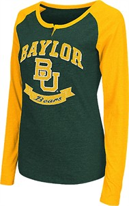 Ladies Baylor Bears Green Healy Raglan Long Sleeve Tee Shirt