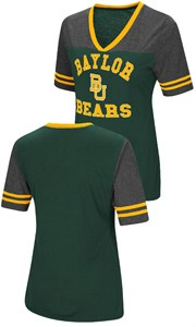 Ladies Baylor Bears Smaller Fit Whole Package Synthetic V Neck T Shirt
