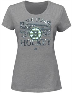 Ladies Boston Bruins Majestic Grey Penalty Box Crew Tee Shirt