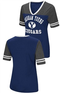 Ladies BYU Cougars Smaller Fit Whole Package Synthetic V Neck T Shirt