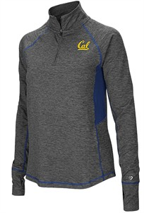 Ladies Cal Golden Bears Grey Junior Size Sabre 1/4 Zip Synthetic Pullover Wind Shirt