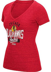 Ladies Chicago Blackhawks Arch Down Distressed Tri-Blend V-Neck T Shirt