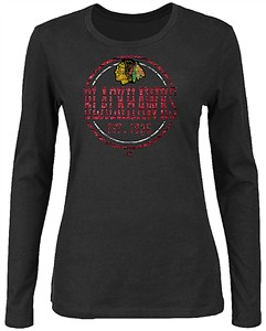 Ladies Chicago Blackhawks Black Far From Finished Long Sleeve T Shirt