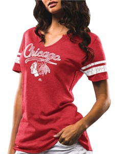 Ladies Chicago Blackhawks Majestic Athletic Red Tag Up Notch Neck T Shirt