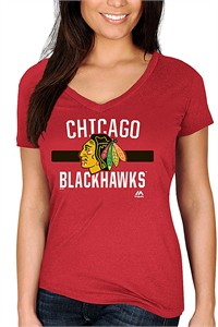 Ladies Chicago Blackhawks Red Discipline Achieves V Neck Shirt by Majestic