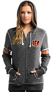 Ladies Cincinnati Bengals Melange Black Athletic Tradation Full Zip Hoodie Sweatshirt