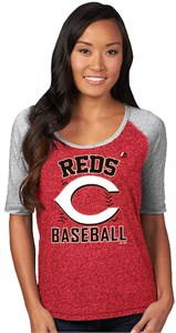 Ladies Cincinnati Reds Majestic Break Out Season Half Sleeve Tee Shirt