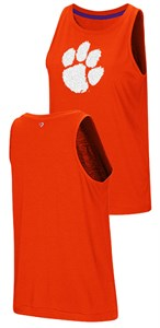 Ladies Clemson Tigers Colosseum Smaller Fit Bet On Me Muscle Tank Top Shirt