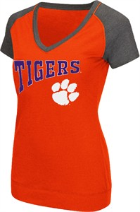Ladies Clemson Tigers Goalline Synthetic V Neck Short Sleeve T Shirt