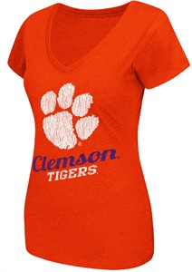 Ladies Clemson Tigers Orange Tabloid V-Neck Tee Shirt by Colosseum