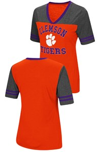 Ladies Clemson Tigers Smaller Fit Whole Package Synthetic V Neck T Shirt