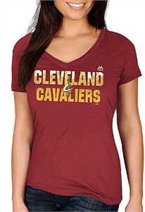 Ladies Cleveland Cavaliers Garnet Get Aggressive V Neck Short Sleeve Tee Shirt
