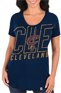 Ladies Cleveland Cavaliers Navy Fanatic Force Short Sleeve Scoop Neck Tee Shirt