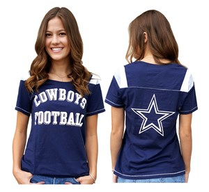 Ladies Dallas Cowboys 2 Sided Jersey Style T Shirt on Sale