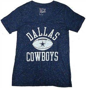 Ladies Dallas Cowboys Alvord Blue Metallic Jersey V Neck Tee Shirt