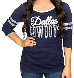255fce006 Ladies Dallas Cowboys Blue EDNA 3/4 Sleeve Glitter T Shirt | Dallas Cowboys  View All Apparel