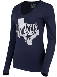 Ladies Dallas Cowboys Blue Emilie V-Neck Long Sleeve T Shirt