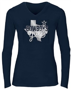 Ladies Dallas Cowboys Blue Kit V Neck Foil Print Long  Sleeve T Shirt