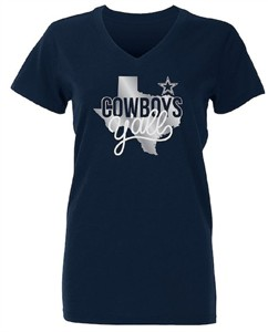 Ladies Dallas Cowboys Blue Kit V Neck Foil Print Short Sleeve T Shirt