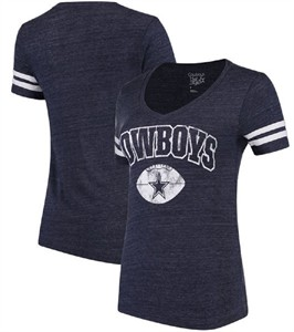 Ladies Dallas Cowboys Blue Monroe V-Neck T Shirt on Sale