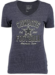 Ladies Dallas Cowboys Everly Heather Blue V Neck T Shirt