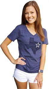 Ladies Dallas Cowboys Lone State Heather Blue V Neck T Shirt