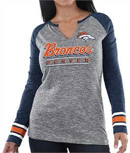Ladies Denver Broncos  Grey Lead Play Notch Neck Long Sleeve T Shirt