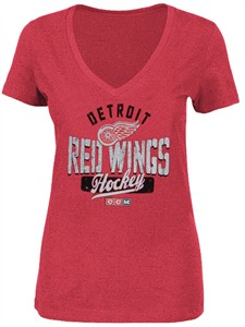 Ladies Detroit Red Wings Arch Down Distressed Tri-Blend V-Neck T Shirt