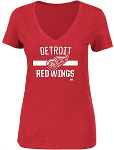 Ladies Detroit Red Wings Red Discipline Achieves V Neck Shirt by Majestic