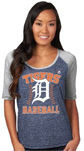 Ladies Detroit Tigers Majestic Break Out Season Half Sleeve Tee Shirt