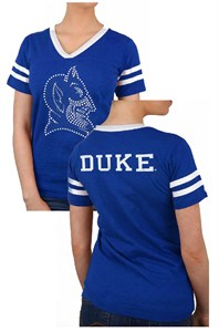 Ladies Duke Blue Devils Royal 2 Sided Rhinestone Short Sleeve T Shirt