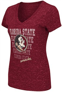 Ladies Florida State Seminoles Garnet Delorean V-Neck T Shirt
