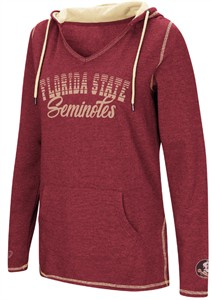 Ladies Florida State Seminoles Garnet Smaller Sized Scream It V Neck Hoodie Top