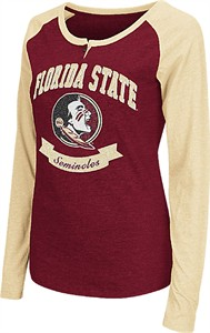 Ladies Florida State Seminoles Wine Healy Raglan Long Sleeve Tee Shirt